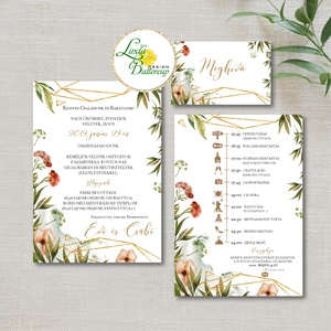 Réti vadvirágos Greenery esküvői meghívó, arany geometriai elemekkel, Esküvő, Meghívó, Meghívó & Kártya, Fotó, grafika, rajz, illusztráció, Papírművészet, Meska