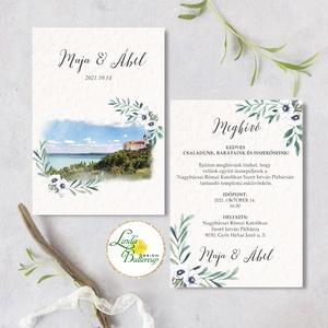 Tihany, Greenery esküvői meghívó, tájképpel, zöld eukaliptusz levél ág, fehér virág,, Esküvő, Meghívó, ültetőkártya, köszönőajándék, Esküvői dekoráció, Fotó, grafika, rajz, illusztráció, Papírművészet, Minőségi  Esküvői  Meghívó\n\n* MEGHÍVÓ CSOMAG BORÍTÉKKAL:\n- Meghívó egy lap, DUPLA OLDALAS nyomtatáss..., Meska