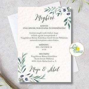 Greenery esküvői meghívó, zöld levél ág, Esküvő, Meghívó, Meghívó & Kártya, Fotó, grafika, rajz, illusztráció, Papírművészet, Meska