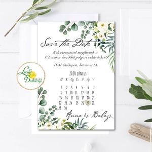 Save the date, naptár,  Greenery esküvői meghívó, zöld levél ág, eukaliptusz, fehér, krém virágos, Esküvő, Meghívó, ültetőkártya, köszönőajándék, Esküvői dekoráció, Fotó, grafika, rajz, illusztráció, Papírművészet, Minőségi  Esküvői  Meghívó\n\n* MEGHÍVÓ CSOMAG BORÍTÉKKAL:\n- Meghívó egy lap, egy oldalas: kb.: (~A6) ..., Meska