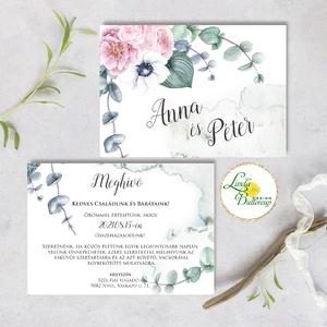 Vízfesték meghívó Pink - Greenery meghívó, Bazsarózsa, eukaliptusz ág, Rózsaszín virágos, Zöld leveles esküvői meghívó, Esküvő, Meghívó, ültetőkártya, köszönőajándék, Esküvői dekoráció, Fotó, grafika, rajz, illusztráció, Papírművészet, Minőségi  Esküvői  Meghívó\n\n* MEGHÍVÓ CSOMAG BORÍTÉKKAL:\n -Meghívó lap, egy lap DUPLA OLDALAS nyomta..., Meska