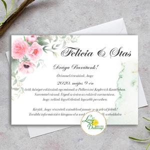 Vízfesték meghívó Pink - Greenery meghívó, Bazsarózsa, eukaliptusz ág, Rózsaszín virágos, Zöld leveles esküvői meghívó, Esküvő, Meghívó, ültetőkártya, köszönőajándék, Esküvői dekoráció, Fotó, grafika, rajz, illusztráció, Papírművészet, Minőségi  Esküvői  Meghívó\n\n* MEGHÍVÓ CSOMAG BORÍTÉKKAL:\n -Meghívó lap, egy oldalas\nkb.: ~ A6 ( 10cm..., Meska
