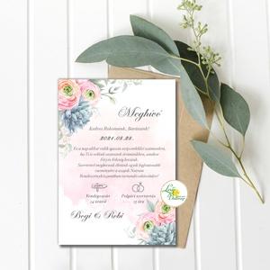 Vízfesték meghívó Pasztell pink - Greenery meghívó, kövirózsa, Rózsaszín virágos, bazsarózsa, Boglárka, Esküvő, Meghívó, ültetőkártya, köszönőajándék, Esküvői dekoráció, Fotó, grafika, rajz, illusztráció, Papírművészet, Minőségi  Esküvői  Meghívó\n\n* MEGHÍVÓ CSOMAG BORÍTÉKKAL:\n -Meghívó lap, egy oldalas\nkb.: ~ A6 ( 10cm..., Meska