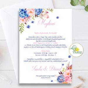 Kék-Rózsaszín meghívó, Navy kék, pink virágos, rózsás meghívó, Esküvő, Meghívó, ültetőkártya, köszönőajándék, Esküvői dekoráció, Fotó, grafika, rajz, illusztráció, Papírművészet, Minőségi  Esküvői  Meghívó\n\n* MEGHÍVÓ CSOMAG BORÍTÉKKAL:\n -Meghívó lap, egy oldalas\nkb.: ~ A6 ( 10cm..., Meska