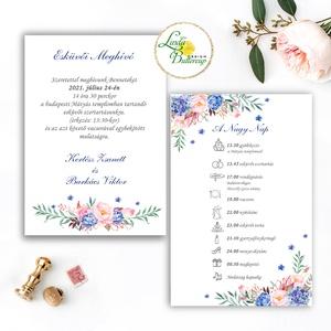 Kék-Rózsaszín meghívó, Navy kék, pink virágos, rózsás meghívó, kék hortenzia, eukaliptusz ág, Esküvő, Meghívó, ültetőkártya, köszönőajándék, Esküvői dekoráció, Fotó, grafika, rajz, illusztráció, Papírművészet, Minőségi  Esküvői  Meghívó\n\n* MEGHÍVÓ CSOMAG BORÍTÉKKAL:\n -Meghívó lap, DUPLA OLDALAS nyomtatás\nkb.:..., Meska
