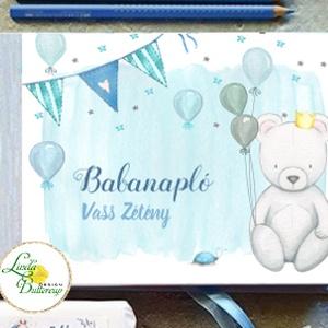 Kék Macis Babanapló, baba könyv, megérkeztem, babváró ajándék, maci, Könyv, Papír írószer, Otthon & Lakás, Fotó, grafika, rajz, illusztráció, Könyvkötés, Babanapló\n\nMÉRET: \nFekvő A5\nHA szükséges más méret is kérhető.\nA4-es méret esetén +felár fizetendő a..., Meska