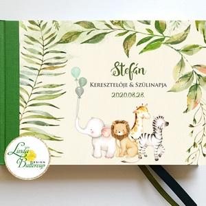 Szafari állatos Babanapló, baba könyv, megérkeztem, babváró ajándék, afrikai állatok, dzsungel, Könyv, Papír írószer, Otthon & Lakás, Fotó, grafika, rajz, illusztráció, Könyvkötés, Babanapló\n\nMÉRET: \nFekvő A5\nHA szükséges más méret is kérhető.\nA4-es méret esetén +felár fizetendő a..., Meska