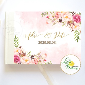 Púder rosegold, rózsás Esküvői Emlékkönyv, Vendégkönyv, könyv, Esküvői vendégkönyv, vízfesték - Meska.hu