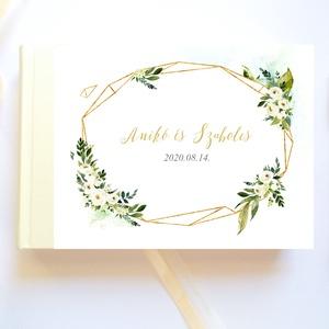 Krém fehér virágos, geometriai mintás, rózsás Esküvői Emlékkönyv, Vendégkönyv, könyv, Esküvői vendégkönyv - esküvő - emlék & ajándék - vendégkönyv - Meska.hu