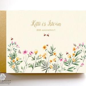 Méhecskés, Rétivirágos Esküvői Emlékkönyv, Vendégkönyv, könyv, Esküvői vendégkönyv, vadvirág, méhecske, Vendégkönyv, Emlék & Ajándék, Esküvő, Fotó, grafika, rajz, illusztráció, Könyvkötés, Esküvői emlékkönyv, vendégkönyv\n\nMÉRET: \nFekvő A5\nHA szükséges más méret is kérhető.\nA4-es méret ese..., Meska