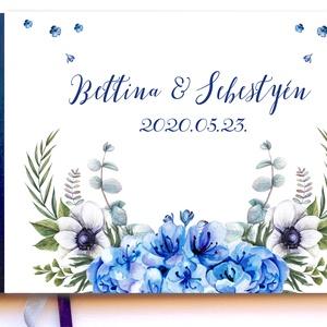 Kék Hortenzia Esküvői Emlékkönyv, Vendégkönyv, könyv, Esküvői vendégkönyv, kék virágos, Esküvő, Vendégkönyv, Emlék & Ajándék, Fotó, grafika, rajz, illusztráció, Könyvkötés, Meska