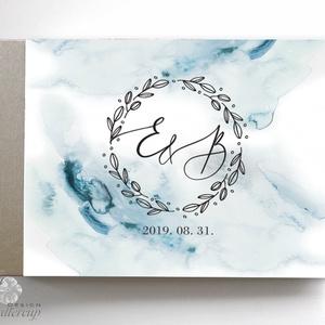 Ezüst, Kék vízfesték Esküvői Emlékkönyv, Vendégkönyv, könyv, Esküvői vendégkönyv, , Vendégkönyv, Emlék & Ajándék, Esküvő, Fotó, grafika, rajz, illusztráció, Könyvkötés, Esküvői emlékkönyv, vendégkönyv\n\nMÉRET: \nFekvő A5\nHA szükséges más méret is kérhető.\nA4-es méret ese..., Meska