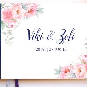Bazsarózsás, kék Esküvői Emlékkönyv, Vendégkönyv, könyv, Esküvői vendégkönyv, Vendégkönyv, Emlék & Ajándék, Esküvő, Fotó, grafika, rajz, illusztráció, Könyvkötés, Esküvői emlékkönyv, vendégkönyv\n\nMÉRET: \nFekvő A5\nHA szükséges más méret is kérhető.\nA4-es méret ese..., Meska