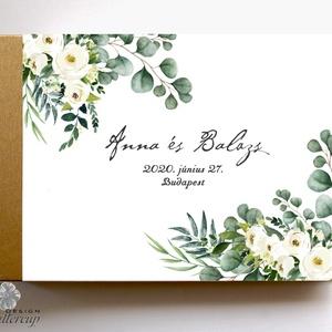 Krém virágos, eukaliptusz, Greenery Esküvői Emlékkönyv, Vendégkönyv, könyv, Esküvői vendégkönyv, zöld levél,, Vendégkönyv, Emlék & Ajándék, Esküvő, Fotó, grafika, rajz, illusztráció, Könyvkötés, Esküvői emlékkönyv, vendégkönyv\n\nMÉRET: \nFekvő A5\nHA szükséges más méret is kérhető.\nA4-es méret ese..., Meska