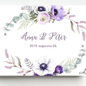 Lila Esküvői Emlékkönyv, Vendégkönyv, könyv, virágos, Esküvői vendégkönyv, levendula, eukaliptusz, Vendégkönyv, Emlék & Ajándék, Esküvő, Fotó, grafika, rajz, illusztráció, Papírművészet, Esküvői emlékkönyv, vendégkönyv\n\nMÉRET:\nFekvő A5\nHa szükséges más méret is kérhető.\nA4-es méret eset..., Meska