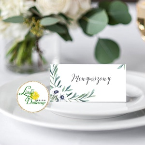 Esküvői ültető kártya, ültető, névkártya, név tábla, Esküvői dekor, dekoráció, virágos, elegáns, romantikus, vintage, Ültetési rend, Meghívó & Kártya, Esküvő, Fotó, grafika, rajz, illusztráció, Papírművészet, Igényes, sátras, két oldalas asztali ültetőkártya\n\nMÉRETE összehajtva: kb: 4.5x9.2cm\n\n* SZERKESZTÉSI..., Meska