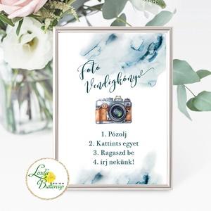 Fotó albumhoz Esküvői felirat, A4, Polaroid fotó Instrukció, selfi gép kellék, Esküvő, Tábla & Jelzés, Dekoráció, A/4-es Esküvői Felirat Dekoráció, bármilyen szöveggel, keret nélkül.  Bármilyen feliratot kérhetsz r..., Meska