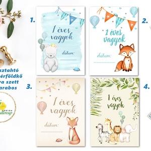 Mérföldkő kártya, baba hónap kártya, állatos, mérföldkőkártya, babakártya, fiúknak, lányoknak, Játék & Gyerek, Babalátogató ajándékcsomag, 13 darabos mérföldkő kártya szett ajándék díszcsomagolásban  * Nyomtatás: 1 lapos =1 oldalas  * Papí..., Meska