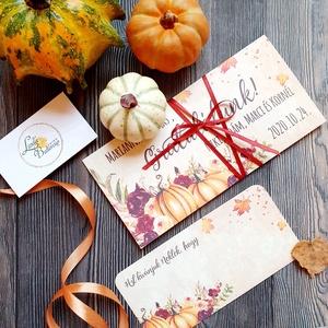 Pénzátadó boríték, Őszi esküvő, Nászajándék, Gratulálunk képeslap, Esküvői Gratuláció, őszi dekoráció, őszies, Esküvő, Emlék & Ajándék, Nászajándék, Őszi Személyre szóló Pénz Átadó Zsebes Boríték Szalaggal átkötve.  Add át nászajándékodat ezzel a gy..., Meska