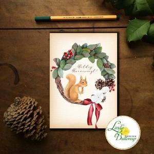 Mókusos Karácsonyi Képeslap, Állatos, Mókus, Adventi lap, vintage képeslap, Karácsony, Karácsonyi ajándékozás, Karácsonyi képeslap, üdvözlőlap, ajándékkísérő, Fotó, grafika, rajz, illusztráció, Mindenmás, Meska
