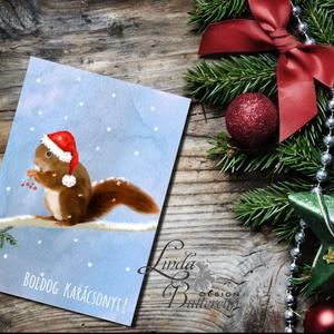Mókusos Karácsonyi Képeslap, Állatos, Mókus, Adventi lap, mikulásos, képeslap, Karácsony, Karácsonyi ajándékozás, Karácsonyi képeslap, üdvözlőlap, ajándékkísérő, Fotó, grafika, rajz, illusztráció, Mindenmás, Meska