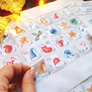 Színes Adventi naptár matrica, adventi kalendár, karácsonyi matrica, karácsonyi csomagolás, ajándékkísérő, Karácsony & Mikulás, Adventi naptár, Fotó, grafika, rajz, illusztráció, Mindenmás, Adventi naptárhoz matrica\n\n* 1 ív (24db) 3x3cm -es számozott matrica: 1-24ig\n\nMatrica anyaga:\nmatt p..., Meska