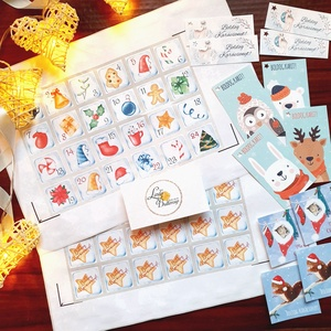 Színes Adventi naptár matrica, adventi kalendár, karácsonyi matrica, karácsonyi csomagolás, ajándékkísérő, Karácsony & Mikulás, Adventi naptár, Fotó, grafika, rajz, illusztráció, Mindenmás, Adventi naptárhoz és karácsonyi csomagoláshoz \nMatrica és ajándékkísérő szett\n\nA CSOMAG TARTALMA:\n* ..., Meska