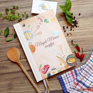 Receptkönyv, mama receptjei, recept gyűjtemény, könyv, füzet, receptek, karácsonyi ajándék, nagymama ajándék, Otthon & Lakás, Konyhafelszerelés, Receptfüzet, Fotó, grafika, rajz, illusztráció, Papírművészet, Recept könyv\n\nMÉRET:\nÁlló A5\n\nLAPOK:\ncsíkos\n70 lapos/ 140 oldalas\nPrémium Hófehér: 120g\n\nKIVITELEZÉS..., Meska