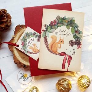 Mókusos Karácsonyi Képeslap ajándékkísérővel, Állatos, Mókus, Adventi lap, mikulásos, képeslap, Karácsony & Mikulás, Karácsonyi képeslap, Fotó, grafika, rajz, illusztráció, Mindenmás, A/6-os méretű Igényes kinyitható Egyedi Karácsonyi képeslap, borítékkal.\nés ajándékkísérővel együtt\n..., Meska