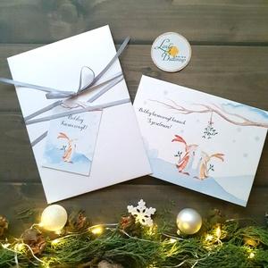 Karácsonyi Képeslap ajándékkísérővel, Nyuszis, egyedi Képeslap, Karácsonyi, Karácsonyi üdvözlőlap, nyuszi, nyúl, , Karácsony, Karácsonyi ajándékozás, Karácsonyi képeslap, üdvözlőlap, ajándékkísérő, Fotó, grafika, rajz, illusztráció, Mindenmás, Meska