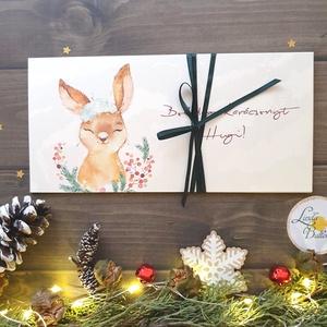 Karácsonyi ajándék, Pénzátadó boríték, utalvány átadó, céges ajándék, pénz, egyedi, személyre szóló, nyuszi, nyúl, Otthon & Lakás, Boríték, Papír írószer, Fotó, grafika, rajz, illusztráció, Papírművészet, Meska