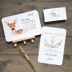 2021 naptár, asztali naptár, állatos, erdei állat, vízfesték, Otthon & Lakás, Papír írószer, Naptár & Tervező, Fotó, grafika, rajz, illusztráció, Mindenmás, Meska