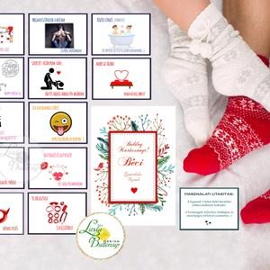 Sex kuponok karácsonyra, Kívánság Kuponok, Vicces Ajándék, Kupon, Évforduló, Születésnapi Kártyák, ajándékkártyák, Karácsony & Mikulás, Karácsonyi képeslap, Festészet, Fotó, grafika, rajz, illusztráció,  Egyedi Ajándék Kívánság Kupon Szett\n\nA Szett tartalma:\n* 1db Képeslap : mérete: A6, belül üres\n--> ..., Meska