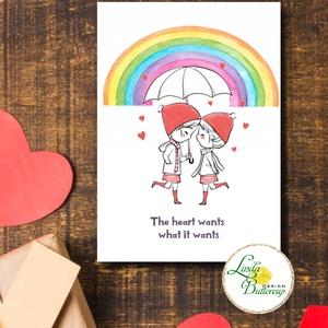 Meleg Valentin napi Képeslap, KÉT LÁNY, szivárvány, szeretlek, szerelem, Otthon & Lakás, Papír írószer, Képeslap & Levélpapír, Fotó, grafika, rajz, illusztráció, Mindenmás, A/6-os méretű Valentin napi Üdvözlőlap\n\nKinyithatós képeslap borítékkal.\nBelül üres \n\nFELIRAT:\nA kép..., Meska