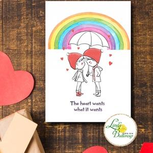 Meleg Valentin napi Képeslap, KÉT FIÚ, szivárvány, szeretlek, szerelmes, Otthon & Lakás, Papír írószer, Képeslap & Levélpapír, Fotó, grafika, rajz, illusztráció, Mindenmás, A/6-os méretű Valentin napi Üdvözlőlap\n\nKinyithatós képeslap borítékkal.\nBelül üres \n\nFELIRAT:\nA kép..., Meska
