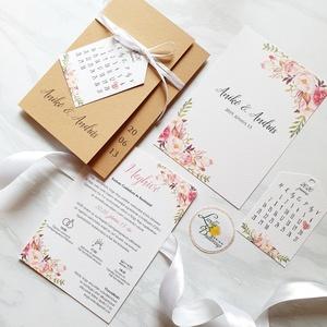 Rózsás esküvői meghívó, dupla oldalas, barna kraft zsebbe csúsztatva masnival kötve, Esküvő, Meghívó & Kártya, Meghívó, Fotó, grafika, rajz, illusztráció, Papírművészet, Meska