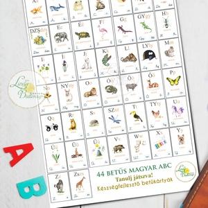 ABC kártya, 44 db-os kiterjesztett magyar ábécé kártya szett dobozban, Játék & Gyerek, Készségfejlesztő & Logikai játék, Festészet, Fotó, grafika, rajz, illusztráció, Meska