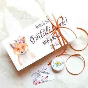Pénzátadó boríték, Rókás, Állatos, keresztelő ajándék, Babaváró, gyermekáldás, Gratulálunk képeslap, Esküvő, Emlék & Ajándék, Nászajándék, Fotó, grafika, rajz, illusztráció, Papírművészet, Meska