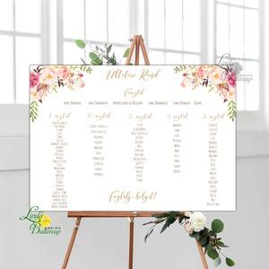 Modern Ültetési rend, Esküvői ültetésirend, Ültetők, Ültetésrend, virágos, rózsaszín, nyugalmas, romantikus, Esküvő, Meghívó & Kártya, Ültetési rend, A2 Ültetési rend - PAPÍR POSZTER  MÉRET: A2: (42x59.4cm) Ez a maximum méret amit el tudunk készíteni..., Meska