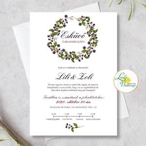 Őszi esküvői meghívó, virágkoszorú, Esküvő, Meghívó & Kártya, Meghívó, Fotó, grafika, rajz, illusztráció, Meska