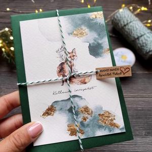 Arany fóiás karácsonyi kinyitható képeslap, vízfesték hatású erdei állatos designal, művészpapíron, borítékkal, Karácsony, Karácsonyi ajándékozás, Karácsonyi képeslap, üdvözlőlap, ajándékkísérő, Fotó, grafika, rajz, illusztráció, Mindenmás, Meska