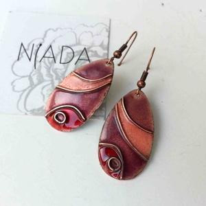 Rózsaszín, lila, bordó lepkeszárny rekeszzománc fülbevaló, cirbolya tűzománc, tűzzománc fülbevaló, türkiz fülbevaló (lineornament) - Meska.hu