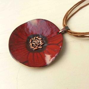 Anemona pipacs virág tűzzománc nyaklánc: tűzzománc nyaklánc pipacs medál - ékszer - nyaklánc - medálos nyaklánc - Meska.hu