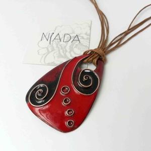 piros - bordó - fekete cirbolya tűzzománc nyaklánc és fülbevaló, Ékszer, Ékszerszett, Ékszerkészítés, Tűzzománc, Meska