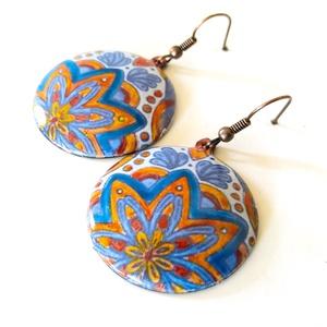 Mexikói mintás kék - narancs tűzzománc fülbevaló, kék fülbevaló, kerek fülbevaló, Ékszer, Lógós kerek fülbevaló, Fülbevaló, Ékszerkészítés, Tűzzománc, Meska