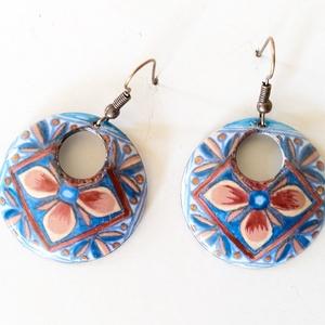 Mexikói mintás kék - bordó tűzzománc fülbevaló, kék fülbevaló, kerek karika fülbevaló (lineornament) - Meska.hu