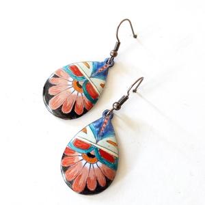Mexikói mintás fekete - piros tűzzománc fülbevaló, színes fülbevaló, csepp alakú fülbevaló (lineornament) - Meska.hu