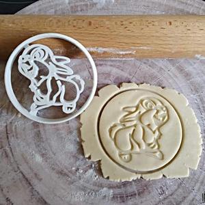 Nyuszi, Otthon & Lakás, Sütikiszúró, Konyhafelszerelés, Saját tervezésű és 3D-nyomtatású  süteménykiszúró forma.  Mérete:  8x1,2 cm.  Anyaga: környezetbarát..., Meska