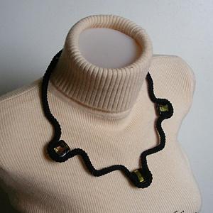 Fekete horgolt nyaklánc, Ékszer, Medál nélküli nyaklánc, Nyaklánc, Horgolás, Meska