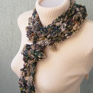 Téli nyaklánc/nyakék szürke-barna-türkiz színekben  - ruha & divat - sál, sapka, kendő - Meska.hu